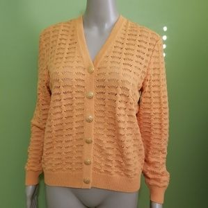 St. John orange / tangerine cardigan pointelle S